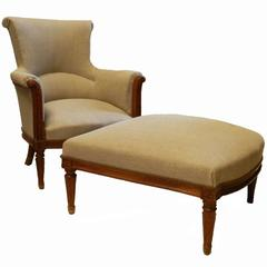 French Duchesse Brisee Armchair and Ottoman Upholstered Natural Linen