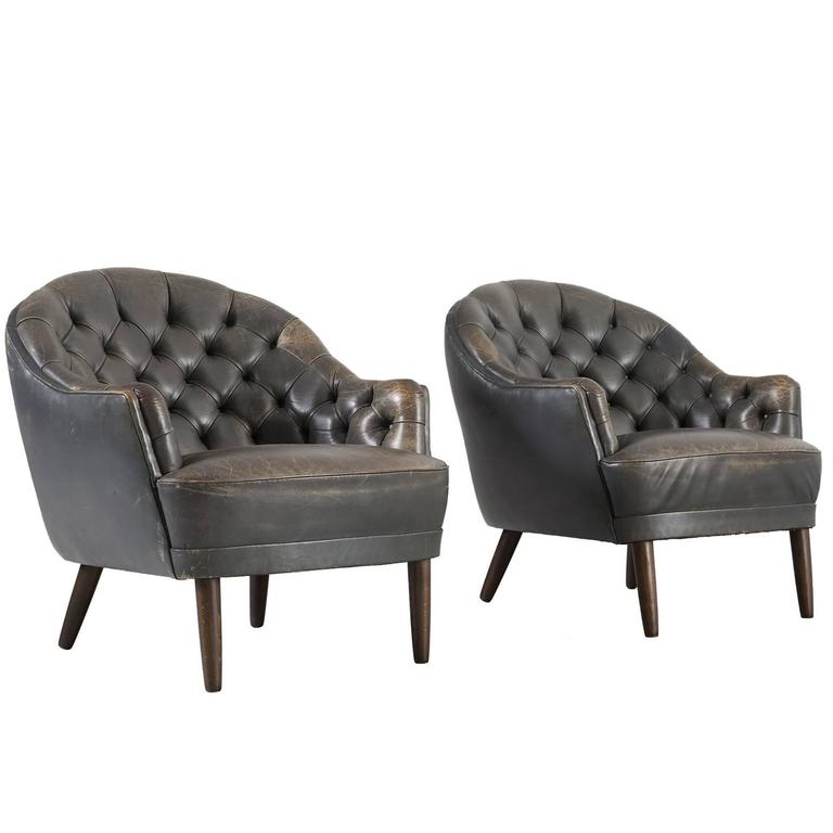 Set Of Two Club Chairs In Patinated Dark Green Leather For