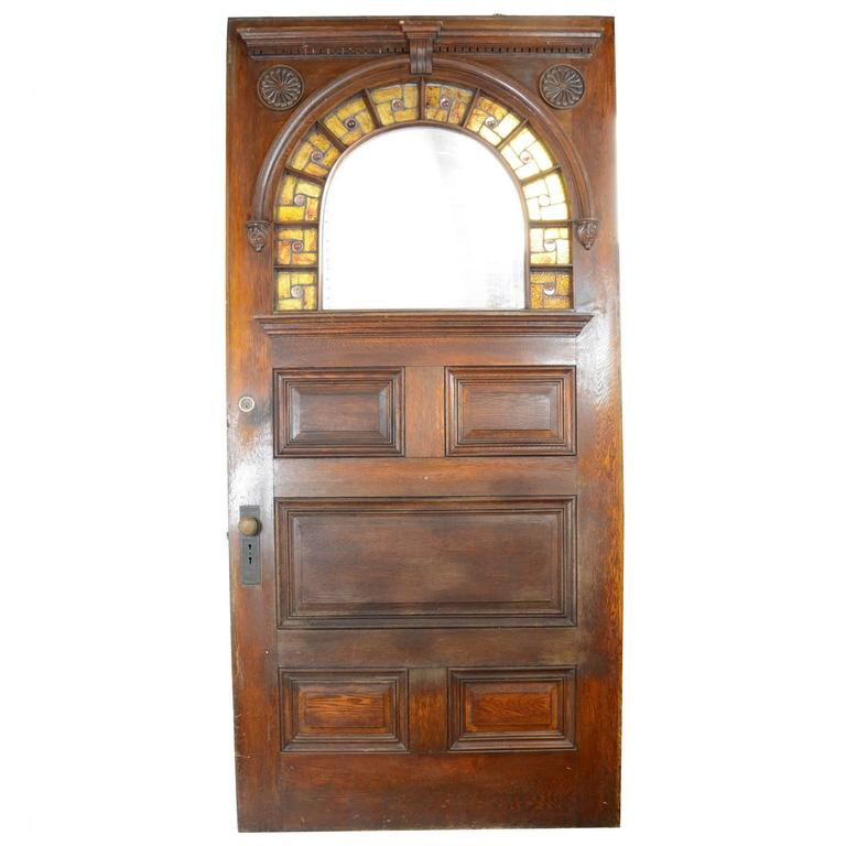 Oak Entry Door With Glass For Sale At 1stdibs