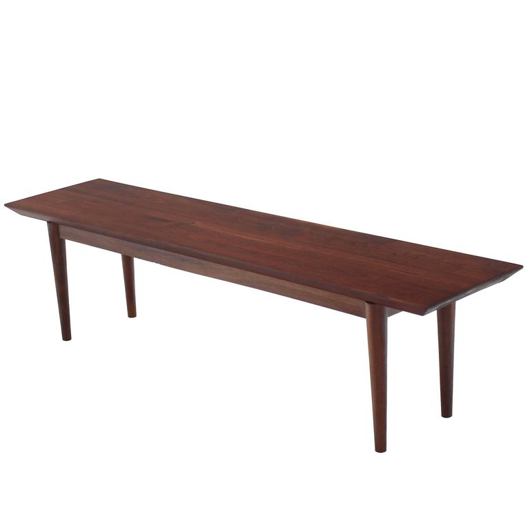Rare Early Walnut Bench or Coffee Table by Risom For Sale