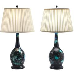 Pair of Deep Blue Ceramic Lamps with Turquoise Green Crabs and Ocean Plants