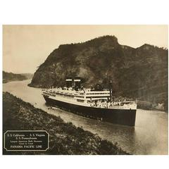 Large Framed B&W Photograph of the SS California, Panama Pacific Line, 1930