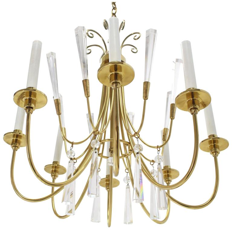 Brass and Lucite Mid-Century Modern Light Fixture Chandelier  For Sale