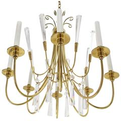 Brass and Lucite Mid-Century Modern Light Fixture Chandelier