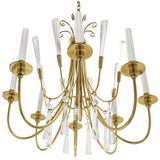 Brass and Lucite Mid-Century Modern Light Fixture Chandelier