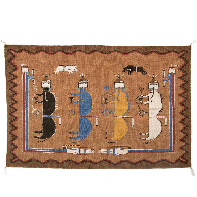Vintage Navajo Pictorial Rug With Buffalo People