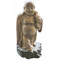 Antique Carved and Painted Buddha