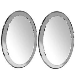 Pair of Oval Moderne Frame Mirrors