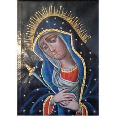 19th Century Spanish American Folk Art Madonna Painting, Mater Dolorosa