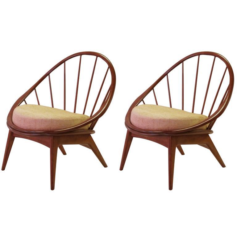 Mod Pair of Danish Modern 1950s Walnut Hoop Chairs by Ib Kofod-Larsen