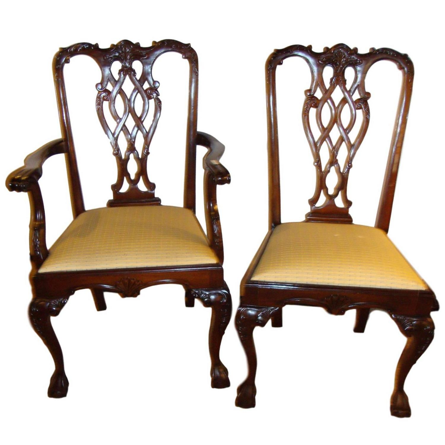 Chippendale Dining Room Set: Set Of Eight Chippendale Style Dining Chairs For Sale At