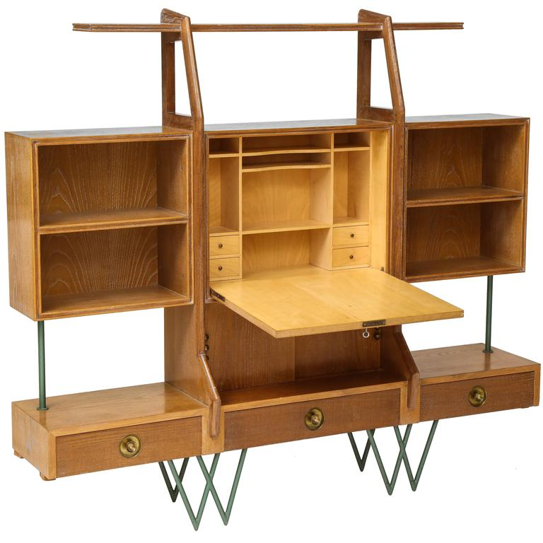 Architectural Cerused Oak Bookshelf Secretary Mid Century France With Iron Legs 1950s