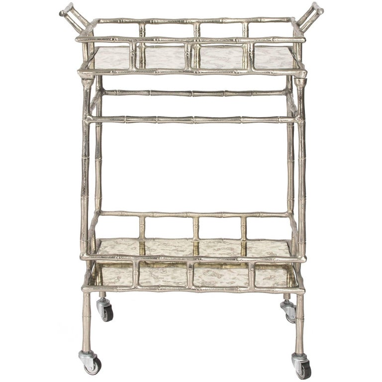 Faux Bamboo Chrome and Mirrored Bar Cart