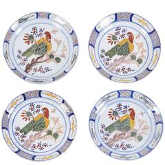 Set of Four 18th Century Polychrome Delft Plates with Birds