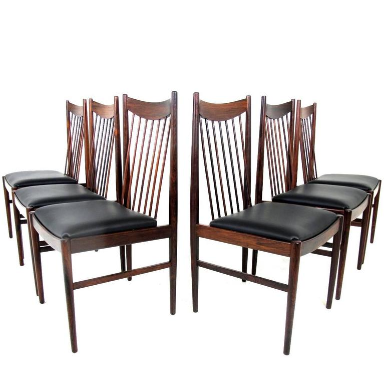 beautiful set of six rosewood high back dining chairs model 422 arne vodder 1