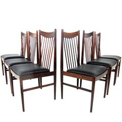 Beautiful Set of Six Rosewood High Back Dining Chairs, Model 422, Arne Vodder