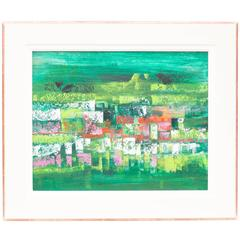 Mid-Century Modern Abstract Composition in Green, Red, White and Pink