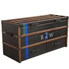 Black Leather Clad Collingwood Trunk - handcrafted by Richard Wrightman Design