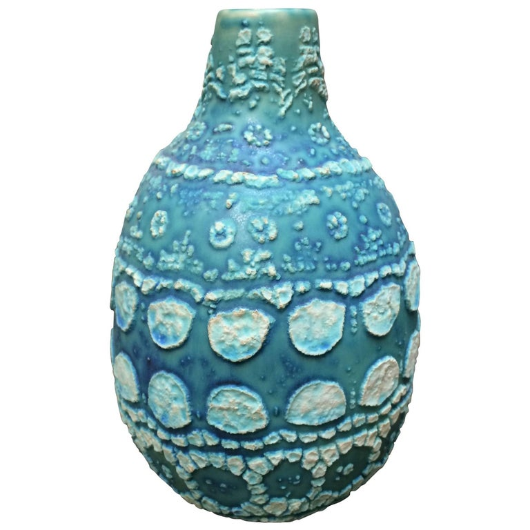 Vintage Inspired Turquoise Textured Vase, Thailand, Contemporary
