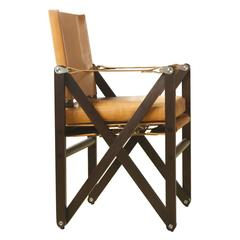 MacLaren Dining Chair in Macassar Stained Walnut and Tan Leather