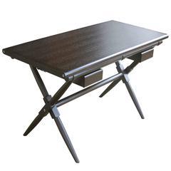 Oiled Wenge Matthiessen Desk with Dark Chocolate English Bridle Leather Straps
