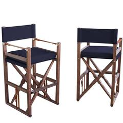Folding Cabourn Bar or Counter Chair in Limed Walnut and Outdoor Fabric