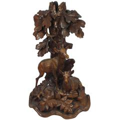 19th Century Black Forest Chamois and Trees Candlestick