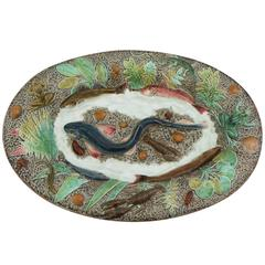 19th Large Majolica Palissy Fishs Wall Platter