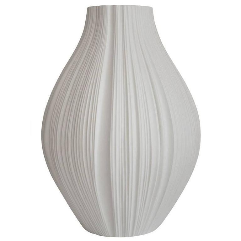 Giant White Porcelain Plissée Vase by Martin Freyer for Rosenthal, Germany