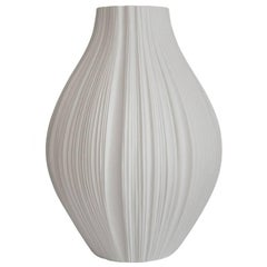 Giant White Porcelain Plissée Vase by Martin Freyer for Rosenthal, Germany
