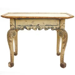 Rare Danish 18th Century Rococo Table, Original Colors