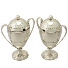 Antique George V Pair of Sterling Silver Preserve Pots