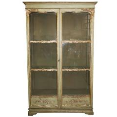 Italian Soft Green Painted Bookcase with Glass Doors from the Mid 19th Century