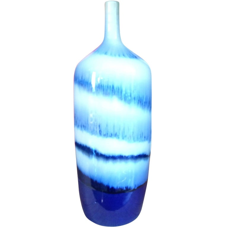 Swirl Pattern Blue and White Porcelain Vase, China, Contemporary For Sale