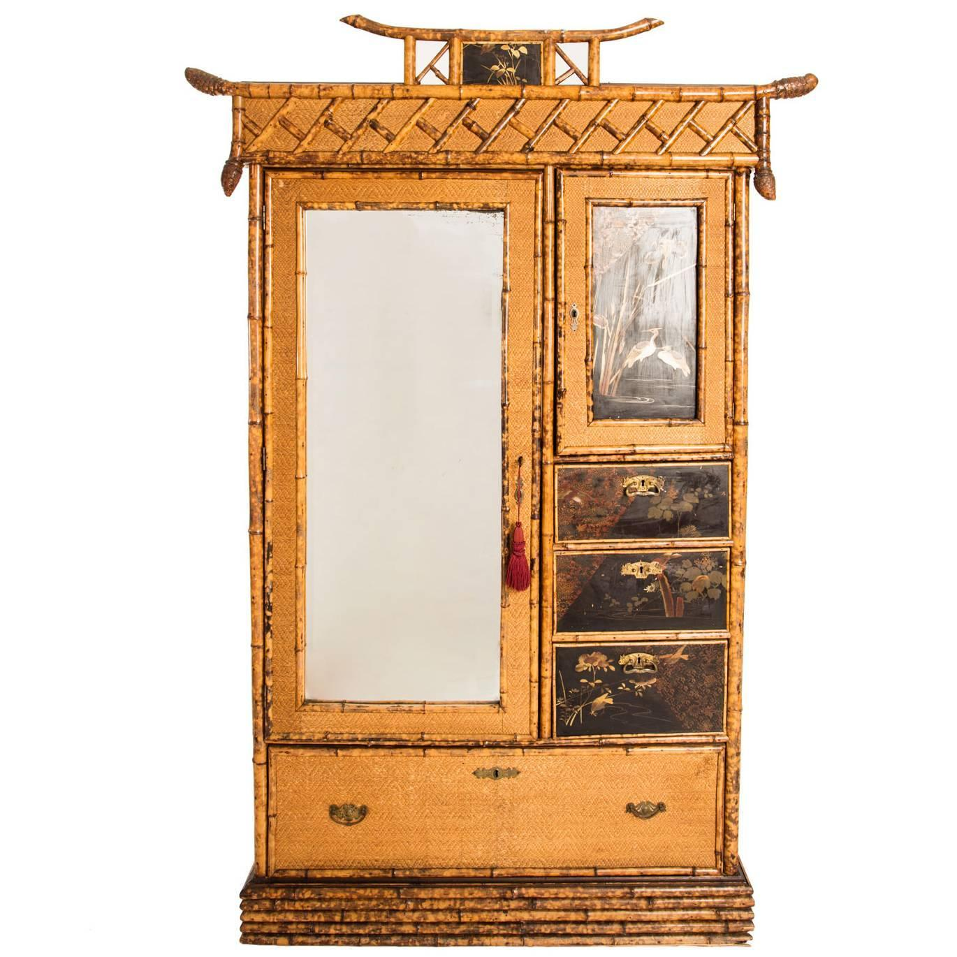 bamboo armoire english circa 1900s for sale at 1stdibs. Black Bedroom Furniture Sets. Home Design Ideas