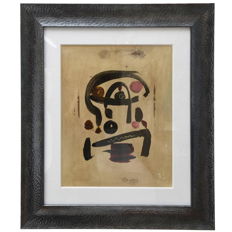 Abstract Signed Peter Keil Oil on Board Custom Framed Miro Inspired Painting