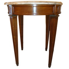 Small Marble-Top End Table or Pedestal  Louis XVI Style
