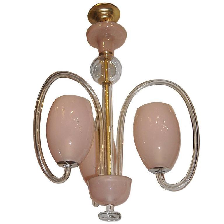 Pink Glass Light Fixture