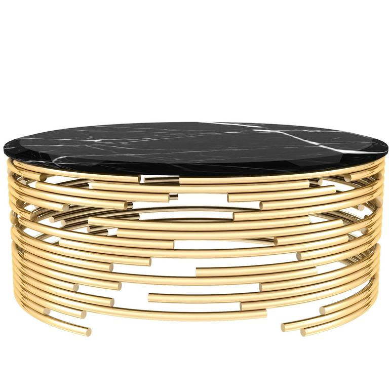 European Modern Brass And Black Marble Round Center Table For Sale At 1stdibs