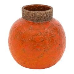 Bitossi Raymor Ceramic Vase Orange Spherical Signed, 1960s, Italy