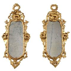 Pair of 18th Century Giltwood Mirrors with Farm Animal Figurines
