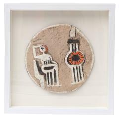 One of Kind Studio Signed Ceramic Custom Framed Work of Art