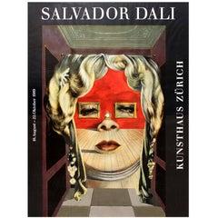 Vintage Salvador Dali Exhibition Poster Ft The Face Of Mae West Kunsthaus Zurich