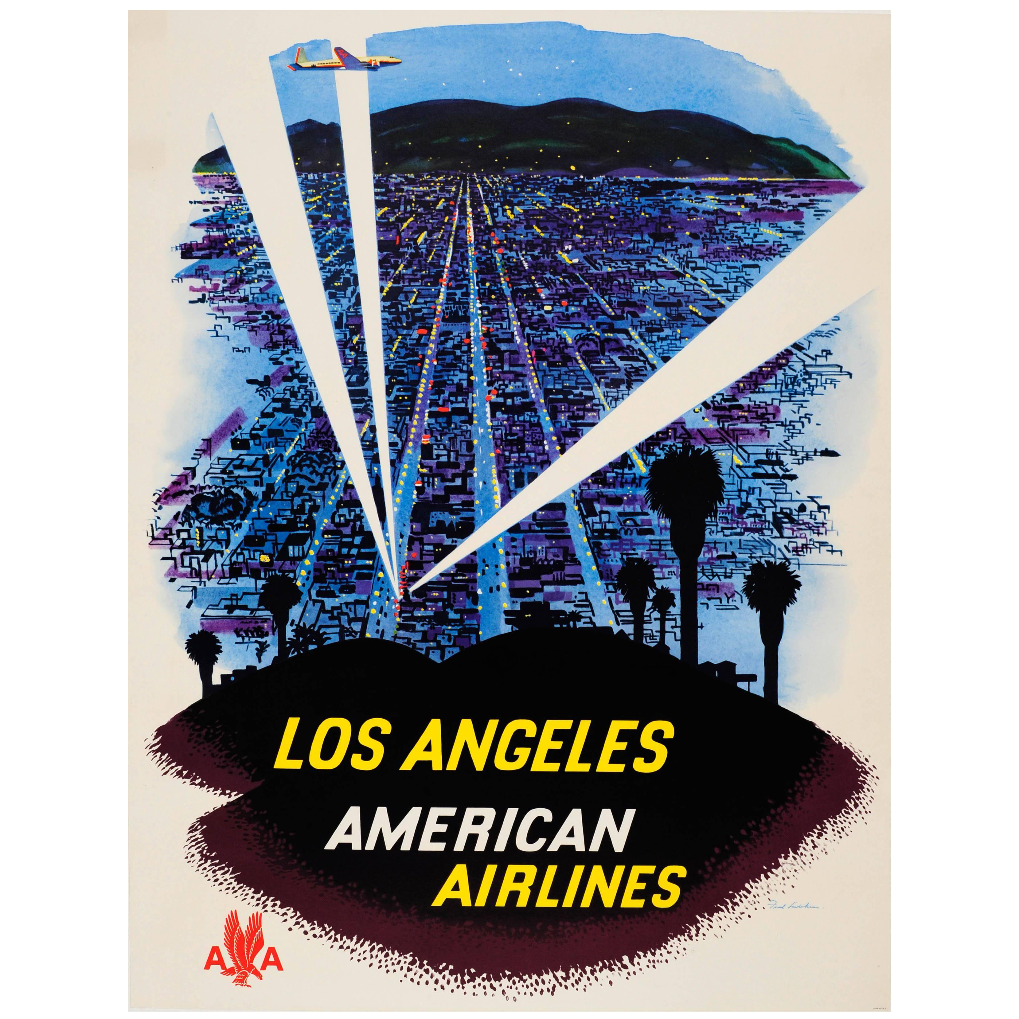 Original Vintage American Airlines Travel Advertising Poster for Los Angeles