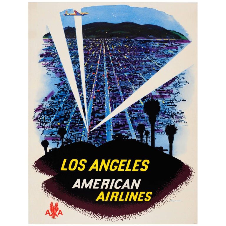 Original Vintage American Airlines Travel Advertising Poster for Los Angeles For Sale