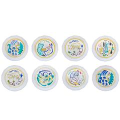 Set of Eight Hand-Painted Faience Dinner Plates by Stig Lindberg