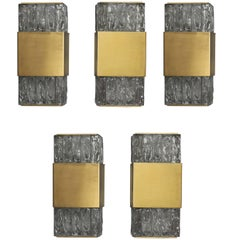 5 Fine French Art Deco Bronze and Slabs Glass Sconces by Perzel
