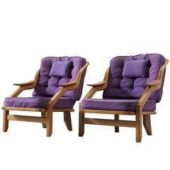Guillerme & Chambron Set of Two Lounge Chairs in Solid Oak and Purple Upholstery