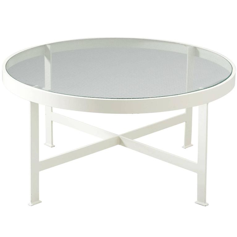 Janni van Pelt Round Coffee Table in White Coated Metal and Glass