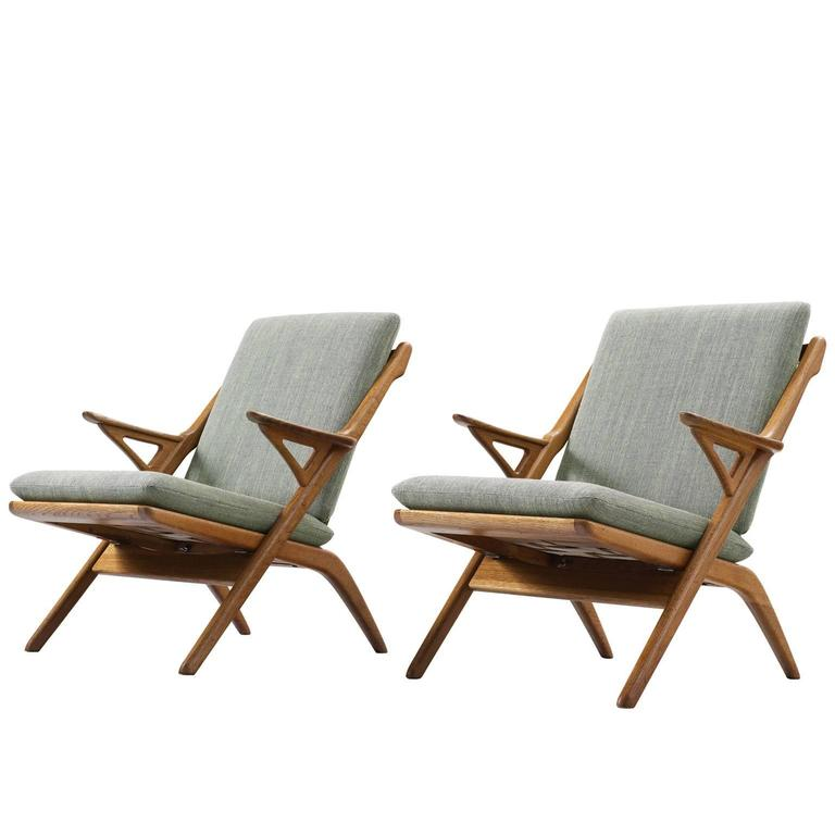 Danish Pair Of Reupholstered Mid Century Armchairs In Oak